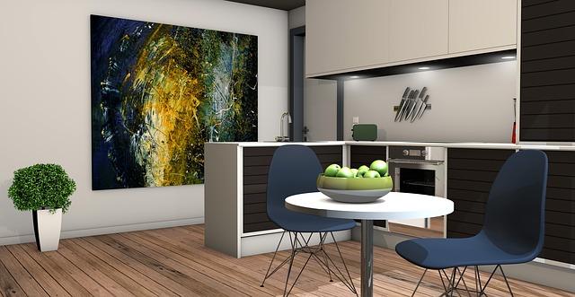 Interiér, kuchyňa, kuchynská linka, stôl, modré stoličky